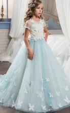 Ball Gown Short Sleeve Kids Prom Dress for Girls CH0109