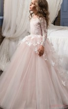 Ball Gown Long Sleeve Kids Prom Dress for Girls CH0115
