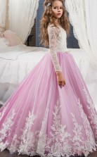 Chic Princess Long Sleeve Kids Prom Dress for Girls CH0119