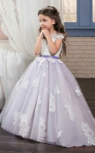 Ball Gown Short Sleeve Kids Prom Dress for Girls With Sashes CH0135