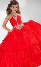 Ball Gown Halter Red Kids Girls Dress CH0161