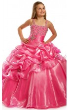 Ball Gown Beading Straps Peach Red Kids Girls Dress CH0167