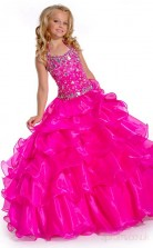 Ball Gown Halter Magenta Red Kids Girls Dress CH0170