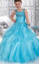 Ball Gown Straps Pool Blue Kids Girls Dress CH0171