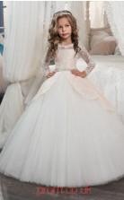 Square Long Sleeve Blushing Pink Kids Prom Dresses CHK001