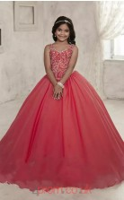 Jewel Sleeveless Red Kids Prom Dresses CHK006