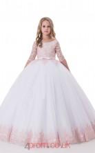 Jewel Half Sleeve Blushing Pink Kids Prom Dresses CHK010