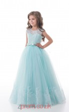 Illusion Sleeveless Light Blue Kids Prom Dresses CHK012