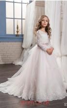 Illusion Long Sleeve Blushing Pink Kids Prom Dresses CHK014