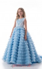 Jewel Sleeveless Power Blue Kids Prom Dresses CHK015