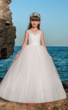 Illusion Sleeveless White Kids Prom Dresses CHK019