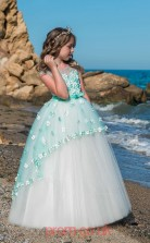 Illusion Sleeveless Light Turquoise Kids Prom Dresses CHK022