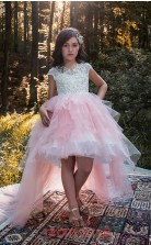 Jewel Short Sleeve Pale Pink Kids Prom Dresses CHK028