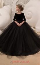 Scalloped 3/4 Length Sleeve Black Kids Prom Dresses CHK037