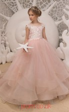 Illusion Sleeveless Light Salmon Kids Prom Dresses CHK038