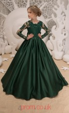 Jewel Long Sleeve Dark Green Kids Prom Dresses CHK040