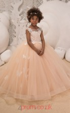 Illusion Sleeveless Girls Kids Prom Dresses CHK042