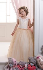Jewel Sleeveless Burlywood Kids Prom Dresses CHK050
