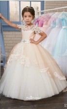 Tulle Ball Gown Jewel Short Sleeve Kids Party Dress CHK134