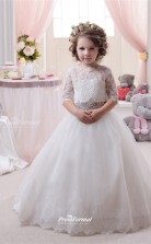 Tulle , Lace Princess Illusion Half Sleeve Flower Girl Dress CHK138
