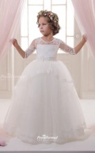 Tulle , Lace Princess Illusion Half Sleeve Flower Girl Dress CHK139