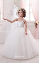 Tulle , Beading Princess Straps Sleeveless Kids Girls Dress CHK140