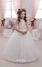 Tulle , Lace Princess off the shoulder Sleeveless Wedding Dress CHK144