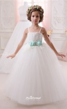 Tulle , Lace Princess Straps Sleeveless Wedding Dress CHK147