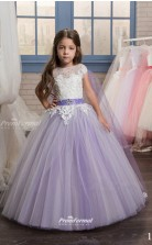 Tulle , Lace Princess Illusion Cap Sleeve Dresses for 8 years olds CHK152