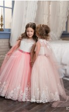 Tulle , Lace Princess Illusion Sleeveless Dresses for 10 years olds CHK154