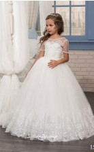 Tulle , Lace Princess Illusion Short Sleeve Dresses for 13 years olds CHK157