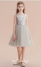 Short Grey Girls Squined Comunication Pageant Dresses CHK166