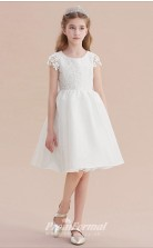 Short White Pricess Girl Prom Dresses with Short Sleeves CHK168