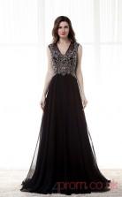 Black Velvet Chiffon A-line V-neck Short Sleeve Prom Dresses(JT4-CZM152)