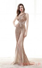 Gold Tulle Sequins Trumpet/Mermaid Asymmetric Sleeveless Sexy Prom Dresses(JT4-CZM172)