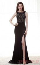 Black Velvet Chiffon Trumpet/Mermaid Bateau Sleeveless Prom Dresses(JT4-CZM174)