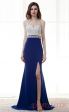 Royal Blue Chiffion Sequined Trumpet/Mermaid Straps Sweetheart Sleeveless Prom Dresses(JT4-CZM179)
