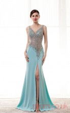 Light Sky Blue Satin Chiffon Trumpet/Mermaid V-neck Sleeveless Prom Dresses(JT4-CZM185)