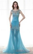 Dodger Blue Tulle Sequined Trumpet/Mermaid Illusion Scoop Short Sleeve Prom Dresses(JT4-CZM186)