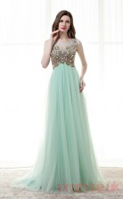 Light Blue Tulle A-line Scoop Short Sleeve Prom Dresses(JT4-CZM188)