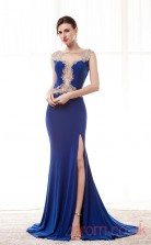 Royal Blue Satin Chiffon Trumpet/Mermaid Illusion Bateau Short Sleeve Prom Dresses(JT4-CZM189)