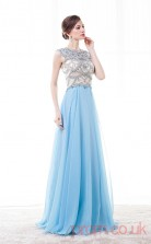 Dodger Blue Tulle Sequined A-line Jewel Short Sleeve Prom Dresses(JT4-CZM192)