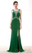 Dark Green Satin Chiffon Sheath/Column Scoop Sleeveless Prom Dresses(JT4-CZM196)