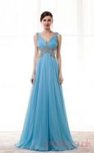 Dodger Blue Chiffon Tulle A-line V-neck Sleeveless Prom Dresses(JT4-CZM198)
