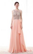 Blushing Pink Chiffon Tulle A-line Bateau Sleeveless Prom Dresses(JT4-CZM200)