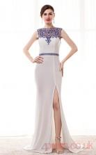 White Chiffon Tulle Trumpet/Mermaid Bateau Sleeveless Prom Dresses(JT4-CZM201)
