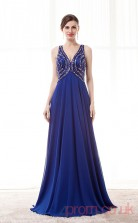 Royal Blue Chiffon A-line V-neck Sleeveless Prom Dresses(JT4-CZM202)