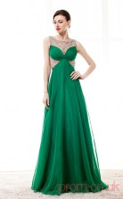 Dark Green Chiffon Tulle A-line Illusion Scoop Sleeveless Prom Dresses(JT4-CZM204)