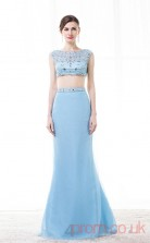 Dodger Blue Chiffon Tulle Trumpet/Mermaid Bateau Sleeveless Two Pieces Prom Dresses(JT4-CZM205)