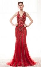 Light Burgundy Tulle Sequined Trumpet/Mermaid V-neck Halter Sleeveless Prom Dresses(JT4-CZM206)
